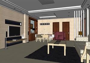 欧式风格住宅室内客餐厅空间设计SU(草图大师)模型