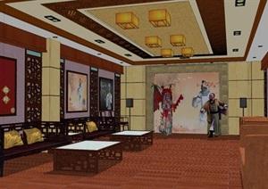 精美的中式风格戏剧室SU(草图大师)模型