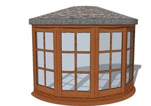 仿古的弧形玻璃推拉门素材SU(草图大师)模型