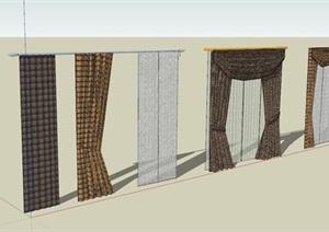 现代风格窗帘模型组合素材SU(草图大师)模型