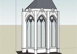 欧式风格弧形窗户门窗模型