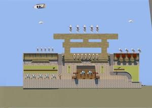 现代商贸码头建筑SU(草图大师)模型