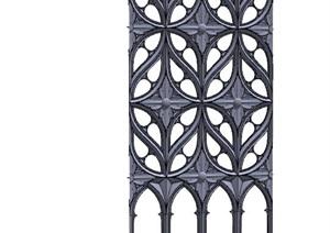 欧式风格铁艺栏杆门窗素材SU(草图大师)模型