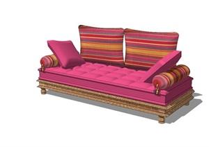民族风直排沙发SU(草图大师)模型图