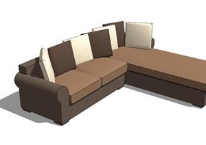 古典风格L形沙发SU(草图大师)模型