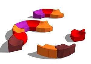 现代风格办公沙发SU(草图大师)模型