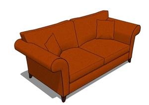 欧式风格直排沙发SU(草图大师)模型