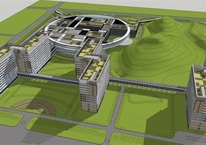 现代风格综合医院建筑方案SU(草图大师)模型