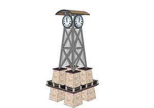现代风格商业街钟塔标识SU(草图大师)模型
