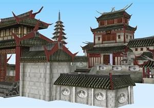 寺庙游戏场景设计方案SU(草图大师)模型