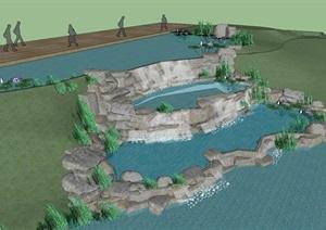 假山水景设计方案SU(草图大师)模型
