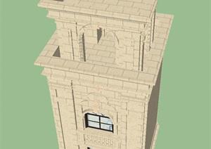 欧式塔楼建筑设计方案SU(草图大师)模型