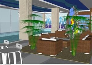 酒店室内泳池装潢方案SU(草图大师)模型