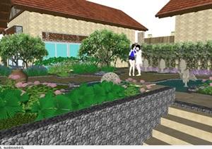 东南亚风格别墅建筑与景观方案SU(草图大师)模型