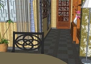 现代中式室内装潢方案SU(草图大师)模型