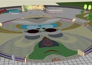 图文信息中心圆形广场景观设计方案SU(草图大师)模型