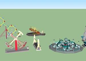 公园游乐场设施SU(草图大师)模型