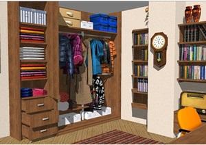 书房室内装潢方案SU(草图大师)模型