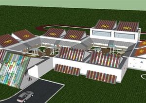 藏式幼儿园建筑方案SU(草图大师)模型