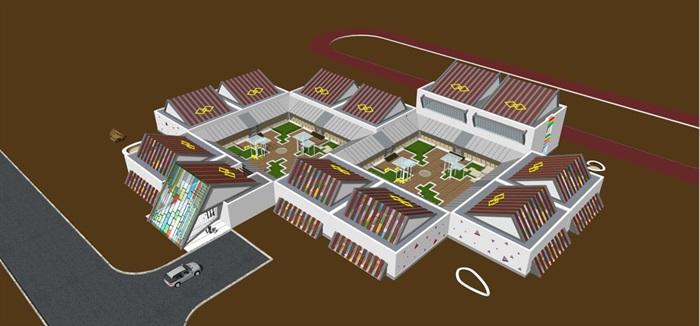 藏式幼儿园建筑方案SU模型(4)
