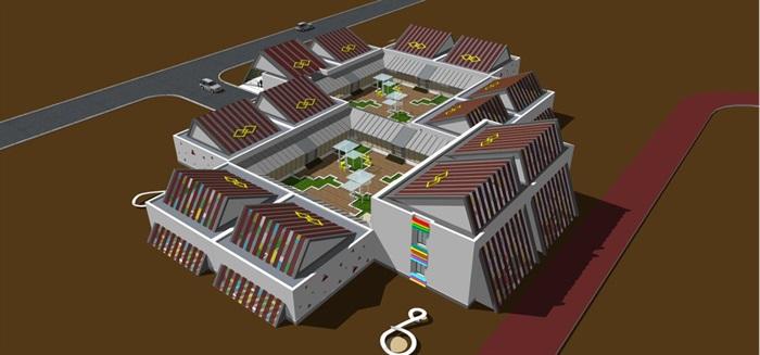 藏式幼儿园建筑方案SU模型(5)