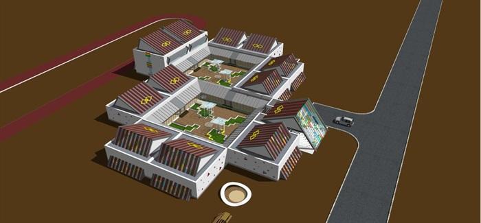 藏式幼儿园建筑方案SU模型(6)