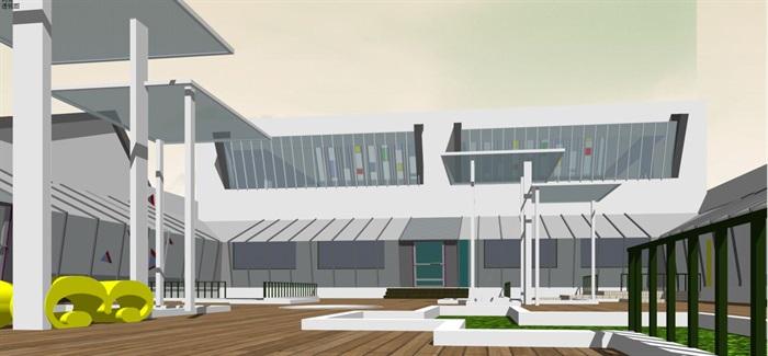 藏式幼儿园建筑方案SU模型(7)