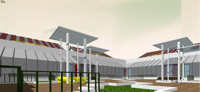 藏式幼儿园建筑方案SU模型(8)