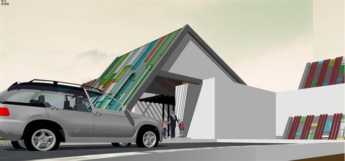 藏式幼儿园建筑方案SU模型(9)