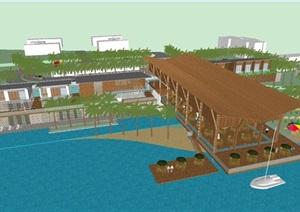 东南亚风格滨湖会所建筑方案SU(草图大师)模型