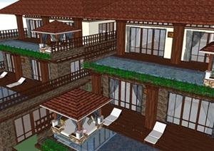 3个东南亚风格别墅户型建筑方案SU(草图大师)模型