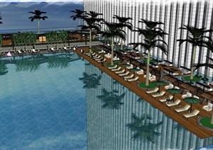 现代风格屋顶游泳池景观设计方案SU(草图大师)模型