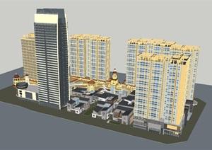 西班牙+中式风格南洋广场综合体建筑方案SU(草图大师)模型