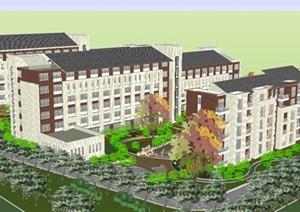 现代风格疗养院建筑与景观方案SU(草图大师)模型