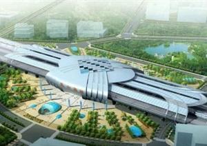 昆山高铁南站建筑设计方案SU(草图大师)模型