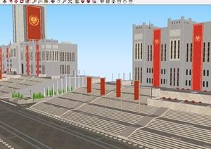 饥饿游戏国会大街场景SU(草图大师)模型