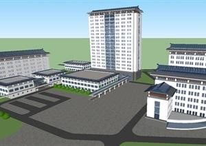 现代中式中医院建筑设计方案SU(草图大师)模型