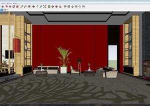 中式会所室内装潢方案SU(草图大师)模型