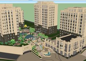 新古典风格小高层小区建筑与景观设计方案SU(草图大师)模型