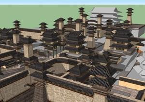 牡丹瞻园与洛阳城2个游戏场景SU(草图大师)模型