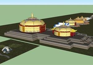 一组蒙古包合集SU(草图大师)模型