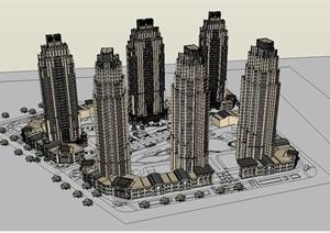 新古典风格高层小区+沿街商业建筑设计方案SU(草图大师)模型