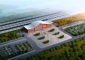 长寿涪陵火车站建筑设计方案SU(草图大师)模型(附JPG方案文本+CAD平立剖)