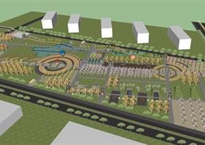 新浦开发区南广场景观设计方案SU(草图大师)模型