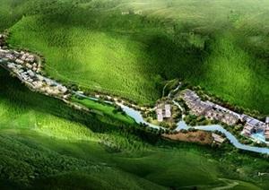 宁波翡翠谷力隆山庄建筑规划设计方案SU(草图大师)模型(附JPG方案文本+CAD总平面与单体平面)