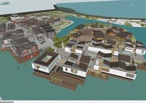 湖北梧桐湖水乡小镇民国+现代商业街建筑设计方案SU(草图大师)模型