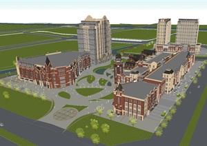 金地英式+art deco混搭风格商业+住宅项目建筑设计方案SU(草图大师)模型