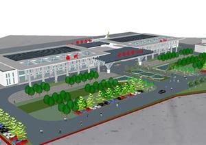 梅县小型机场建筑设计方案SU(草图大师)模型