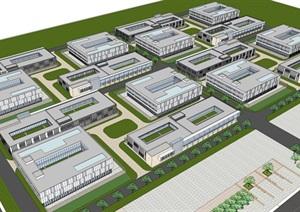 现代风格工业园建筑规划设计方案SU(草图大师)模型