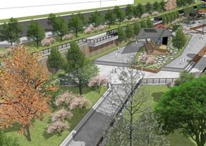 滨水河滩公园景观设计方案SU(草图大师)模型